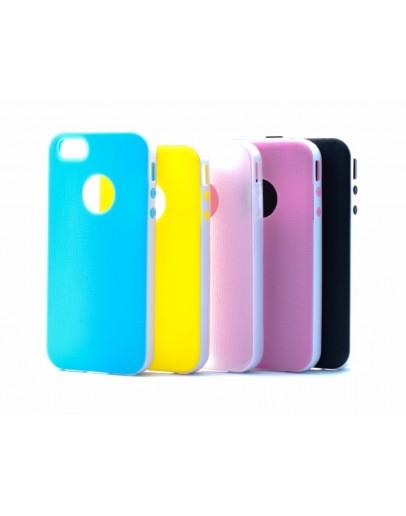 Carcasa protectie spate silicon + plastic IPHONE 4/4S, neagra